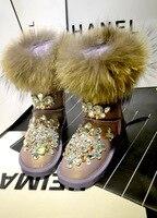 High buckle buckle shoes flower crystal snowflake diamond gem belt buckle flat high knee boots snow boots