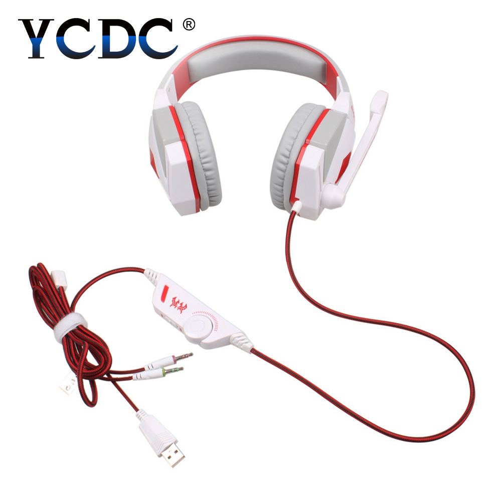 YCDC KOTION EACH G4000 Over-ear Game Headphone USB Gaming Headset 3.5mm Earphone with Mic and LED for PCs Gamer New gamer headset 7 1 surround usb gaming 3 5mm earphone over ear game headphone with mic and led kotion each g4000 for pcs