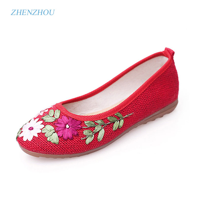 zhen zhou 2017  Women Flower Flats Slip On Cotton Fabric Casual Shoes Comfortable Round Toe Flat Shoes Woman Plus Size new arrival spring floral flat shoes women casual flats cotton fabric shoes woman round toe slip on ladies big size shoes eu42