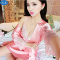 201 Fashion Women Spring and autumn summer silk sleepwear sexy temptation bathrobe twinset spaghetti strap robe twinset lounge