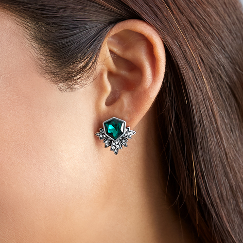 KISS ME Antique Silver Color Green Stud Earrings Fashion Jewelry New - Fashion Jewelry - Photo 2