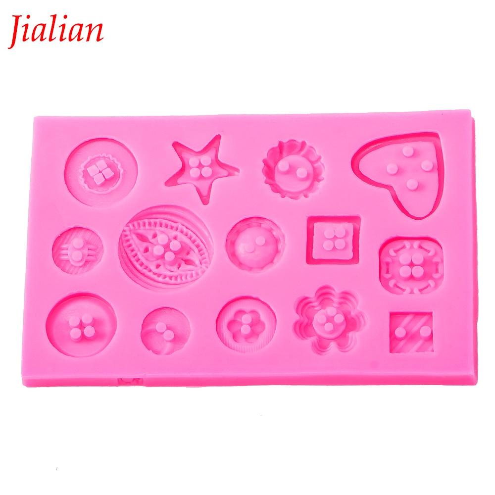 Jialian fondant silikon plijesni DIY gumb u obliku božićno vjenčanje dekoracija fondant šećer kuhanje alati torta ukras FT-0333