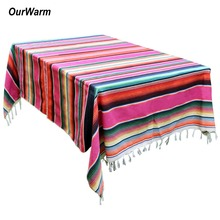 OurWarm Mexican Theme Wedding Decoration 150X215cm Stripe Rectangular Tablecloth Serape Blanket Baby Shower Decorations