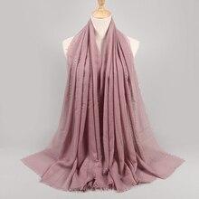Lurex bufandas de algodón con borlas, chales largos y brillantes, para la cabeza, Hijab musulmán, bufanda de lujo