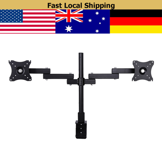 Double Monitor Arm Desk Mount Computer Tv Screen Bracket Dual Stand 13 27 Inch