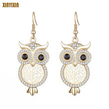 Gold Silver Color Hollow Owl Earrings for Women Cute Black Eye Owl Crystal Drop Earring Fashion Jewelry Party Gift New 2020 2019 new jewelry fashion wolf cute cat design party hook earring colorful round drop earrings accessories for women pretty gift