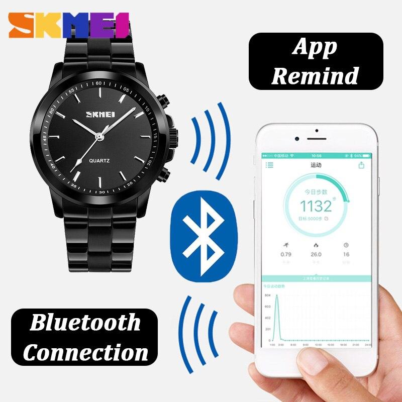 SKMEI Bluetooth Luxury Quartz Watch Men Stainless Steel Classic Business Waistwatches APP Reminder SOS Help Multifunction Watchs in Quartz Watches from Watches