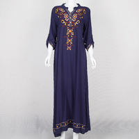 Muslim Folk Style Embroidery Original Size Loose All Match Long Sleeved Pullover Dress Robes