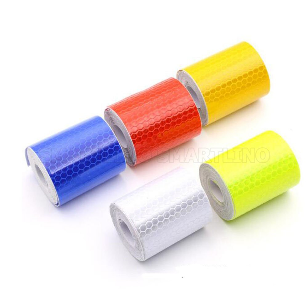 5cmx1m Reflective Bicycle Stickers Adhesive Tape For Bike Safety White Red Yellow Blue Bike Stickers Bicycle Accessories Warning Tape Workplace Safety Supplies