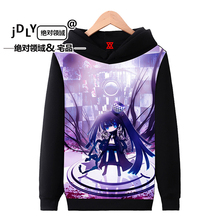 Black Rock Shooter anime animation around Hoodies men and women autumn and winter plus velvet hooded long sleeve