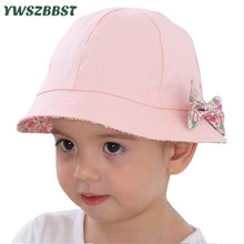 Summer Baby Girls Sun Hat Cotton Baby Hat with Bowknot Autumn Kids Child Boys Bucket Hat Baby Cap Double Sided Can Wear