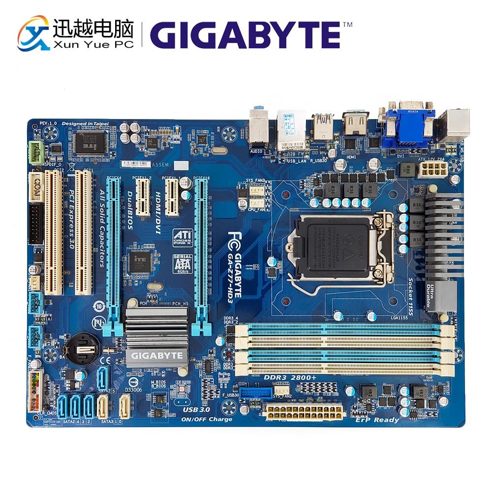 Gigabyte GA-Z77-HD3 Desktop Motherboard Z77-HD3 Z77 LGA 1155 i3 i5 i7 DDR3 32G SATA3 SATA3 USB3.0 VGA DVI HDMI ATX цена 2017