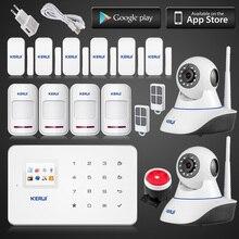 Kerui app ios пульт дистанционного управления Беспроводной GSM SMS ТЕКСТ Сенсорной Клавиатурой Меню цветной экран GSM Сигнализация Комплект с 433 мГц Wi-Fi hd ip камера