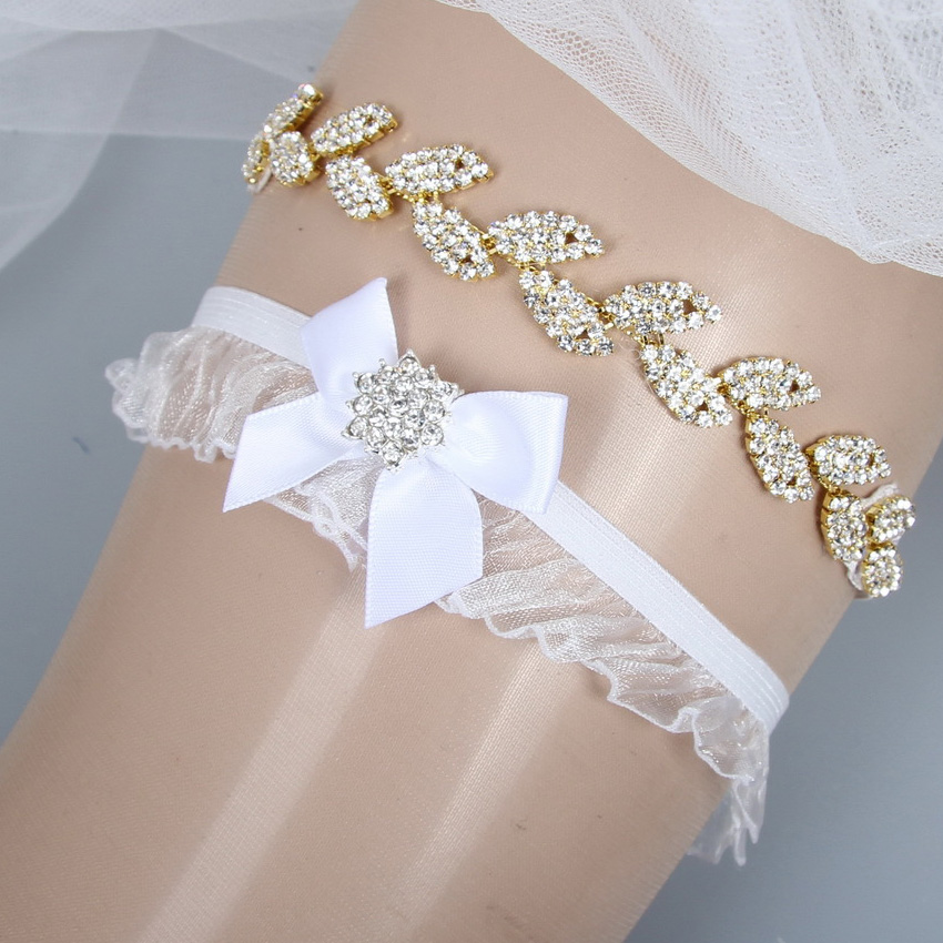 Women's Intimates Underwear & Sleepwears Rhinestone Crystals Gold Tree Leaf Garters Set Organza And Bow Luxury Wedding Bridal Garters Belt Decoration Garter Leg Ring