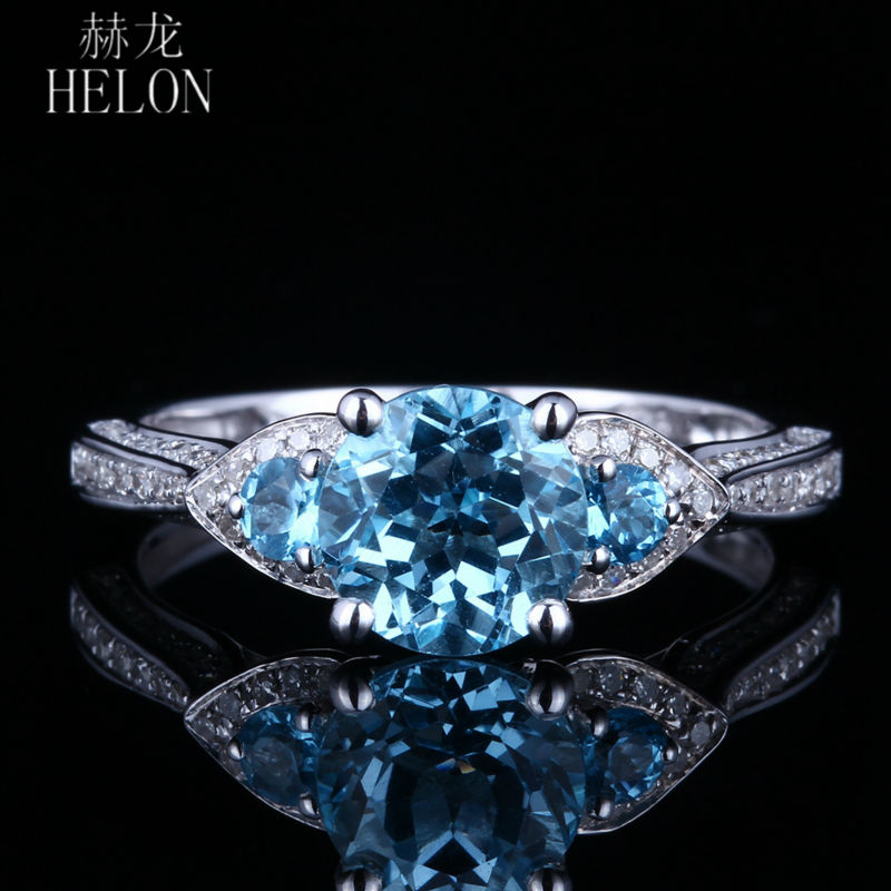 HELON 1.5ct Genuine Blue Topaz Ring Sterling Silver 925 Natural Diamonds Engagement Wedding Ring Gemstone Fine Jewelry Women's helon sterling silver 925 flawless 11x9mm emerald cut 4 36ct real blue topaz natural diamond engagment wedding ring fine jewelry