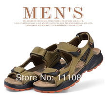 Free shipping summer men's leather breathable open toe sandals, outdoor leisure beach shoes