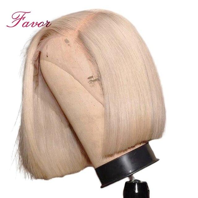 150% de densidad del pelo humano del frente del cordón pelucas 613 rubia Bob corto recto pelucas de encaje brasileño Remy cabello humano Pre arrancado cabello
