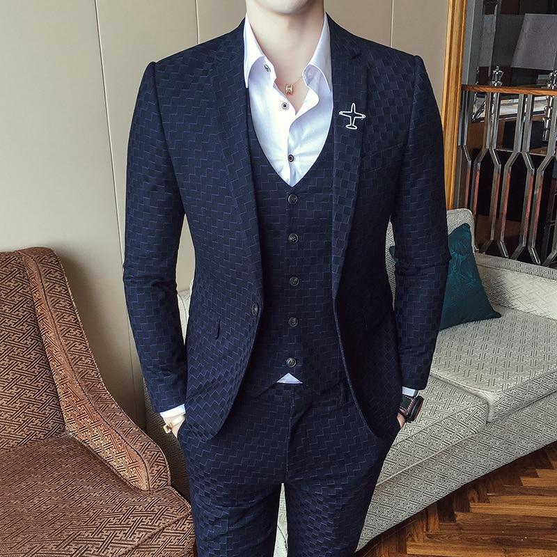 Check Suits For Men 3 Piece Wedding Suit 2017 Autumn Winter Vintage Plaid Suits For Men Costume Homme Slim Fit Swallow Gird Suit ...