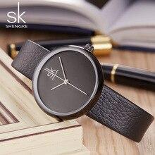 Shengke Moda Mujer Relojes Mujer Vestido de Las Mujeres Pulsera Relojes para las mujeres Reloj de Cuero Negro Reloj de Cuarzo Relogio Feminino SK