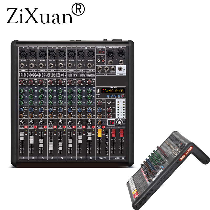 8 channel professional stereo mixer live usb studio audio sound console anchor device vocal. Black Bedroom Furniture Sets. Home Design Ideas