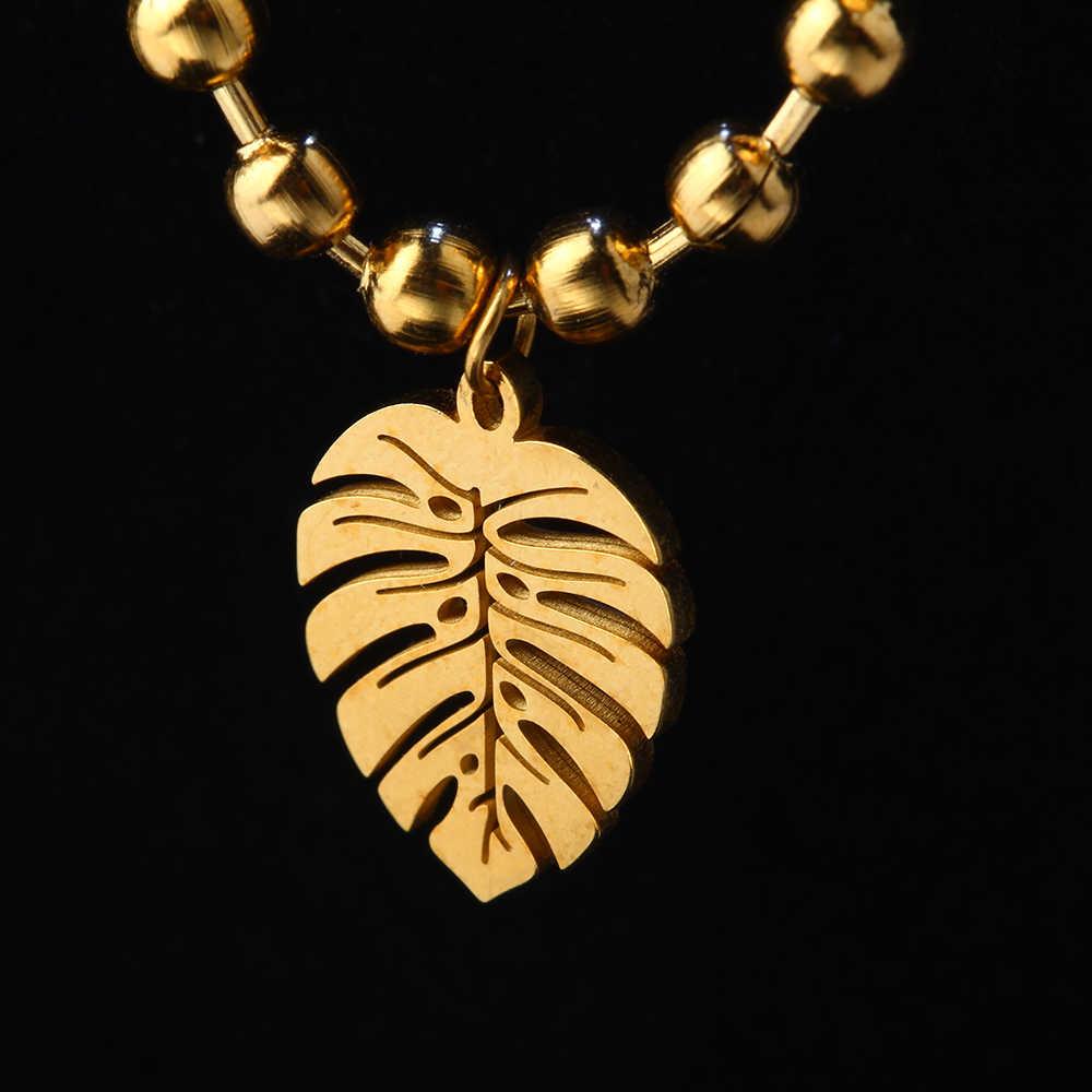 SHE WEIER  stainless steel  jewelry charms leaf bracelets& bangles men femme gifts for women female braclet braslet silver gold