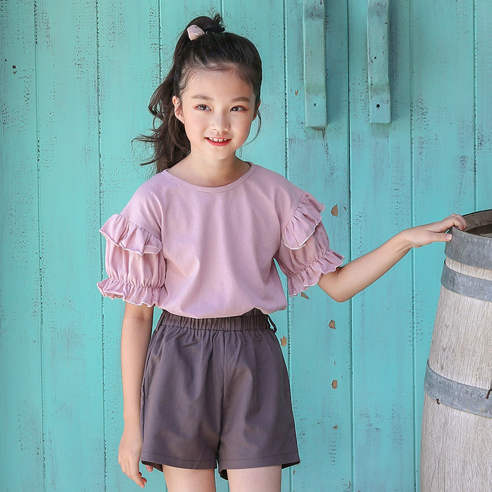 2018 New Big Girls Clothing Sets Summer T Shirts Tops + Shorts Suits 2 Pieces Kids Clothes Baby Clothing Sets 6 8 10 12 14 Year 2017 summer girls sets clothes short sleeve chiffon baby girls sets for kids big girls t shirts and stripe shorts children suits