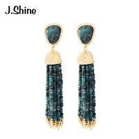 JShine Mix Cor Acrílico Beads Brincos Longos Borla 2018 Clássico Do Vintage Geométrica Brincos Dangle para Mulheres Jóias Bijoux