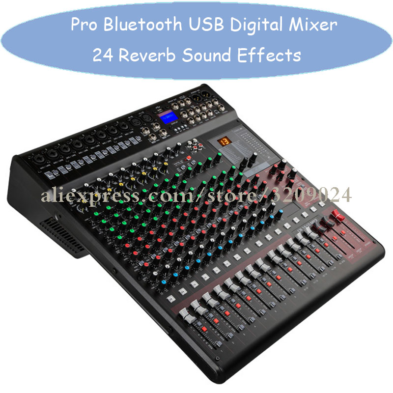 Pro 16 Kanal Audio Sound Digital Mixer Konsole Eingang Mischen Effekte mit Bluetooth USB 48 v Phantom Power 24 DSP Effekte