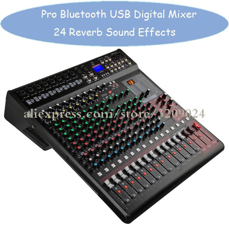Pro 16 dźwiękowej mikser cyfrowy konsoli wejścia efekty mieszania z bluetooth usb zasilanie Phantom 48V 24 efektów DSP