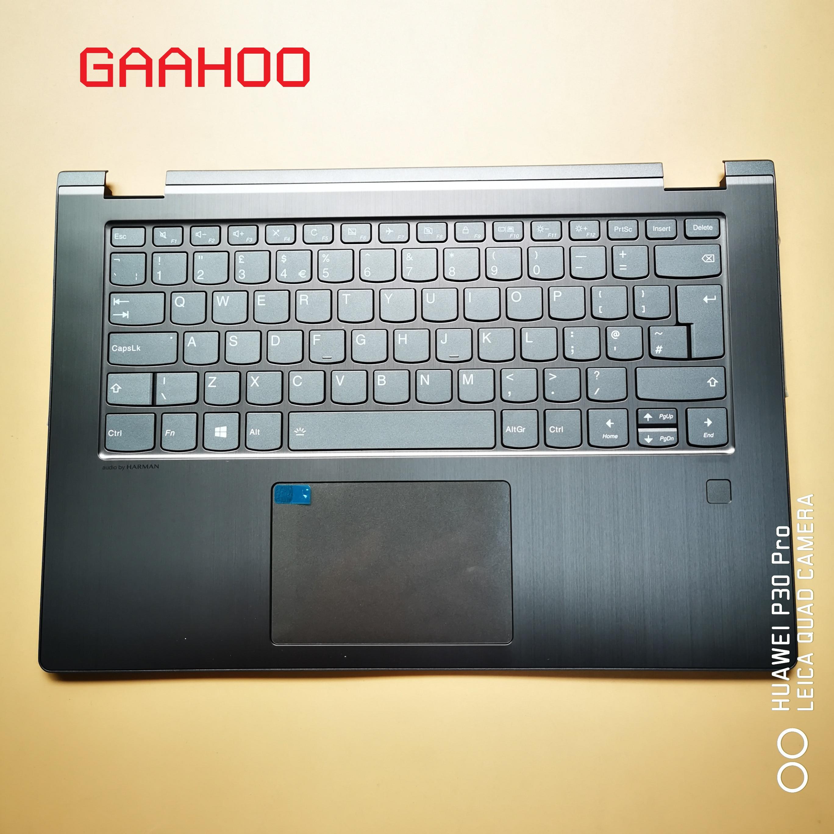 Clavier UK pour LENOVO YOGA 530-14 FLEX6-14 1470 1480 ensemble repose-main avec clavier UK pavé tactile et Scanner d'empreintes digitales gris