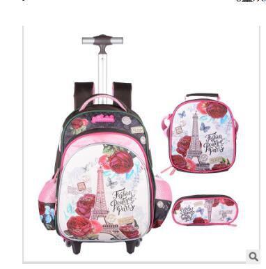 เด็ก Rolling กระเป๋าสำหรับโรงเรียนเด็กรถเข็นกระเป๋าล้อนักเรียนกระเป๋าเป้สะพายหลังกระเป๋าเป้สะพายหลังสำหรับสาวกระเป๋าเดินทางกระเป๋ารถเข็น-ใน กระเป๋านักเรียน จาก สัมภาระและกระเป๋า บน   2