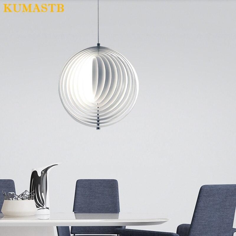 Луна подвесной светильник Современные Круги подвесной светильник Art спальня гостиная лампа столовая кабинет кухня Подвесная лампа