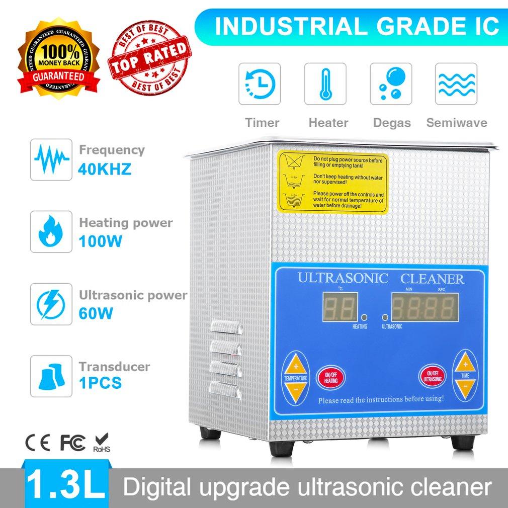 Professionele Rvs 1.3L Liter Industrie Verwarmde Ultrasone Reiniger Heater Grote Digitale Timer En Temperatuur Display - 4