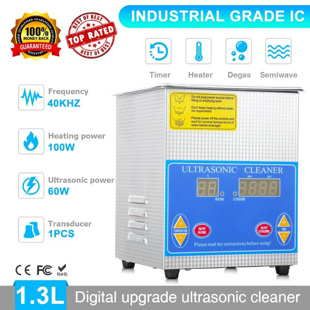 Profissional de Aço Inoxidável Litros 1.3L Indústria Limpeza Ultra sônica Aquecedor Aquecido Grande Timer Digital E Display de Temperatura - 4
