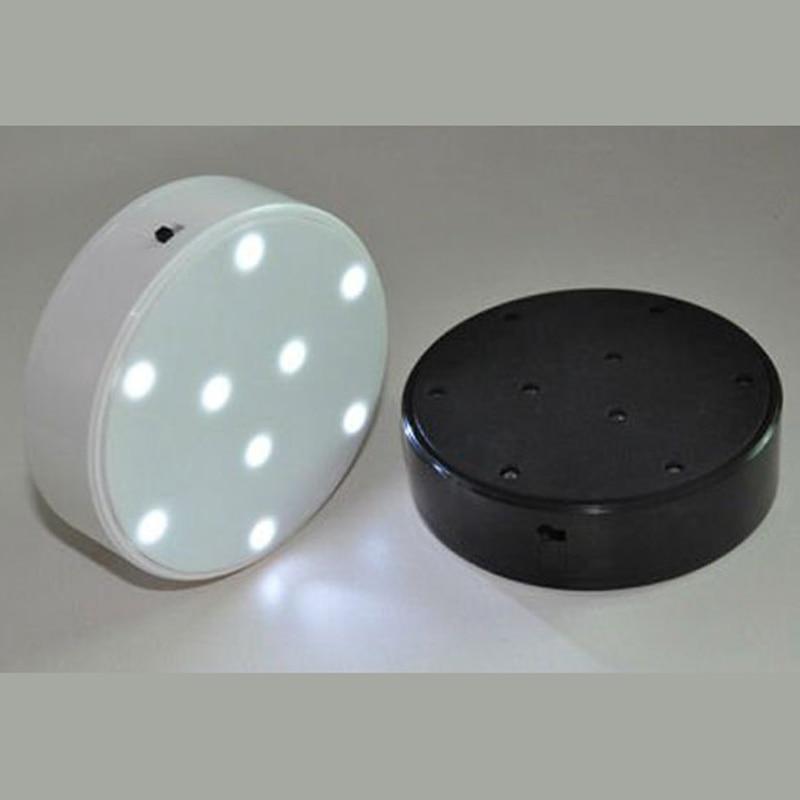 Battery operated 4inch Uplight Lamp Round LED Base Vase Light with 9 Super Bright LEDs for Centerpiece Vase Lighting Decoration
