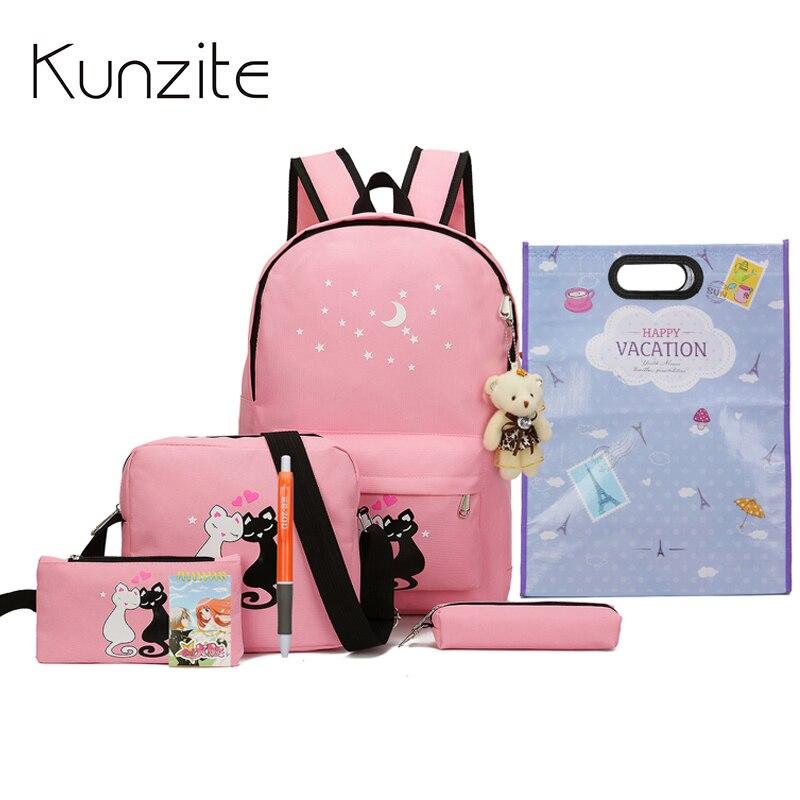 где купить 8Pcs/Sets Fashion Star Women Backpacks Cute Canvas Printing Backpack School Bags For Teenagers Girls Book Bags Mochila Escolar по лучшей цене