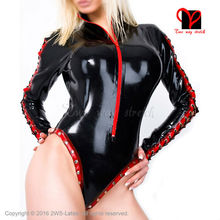 Long Sleeves Zip stripe rivets Latex Swimsuit Rubber Catsuit high cut leg Gummi Jumpsuit Unitard Sexy Latex leotard TC-012 XXL