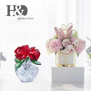 Image 5 - H & D คริสตัลสีแดง Rose Bouquet ดอกไม้ Figurines เครื่องประดับของขวัญกล่องตกแต่ง Paperweight วันวาเลนไทน์