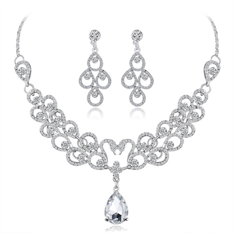 Wedding Bridal Water Drop Rhinestone Crystal Necklace Earring Jewelry Set For Women Flower Wedding Valentine 39 s Day gifts in Jewelry Sets from Jewelry amp Accessories