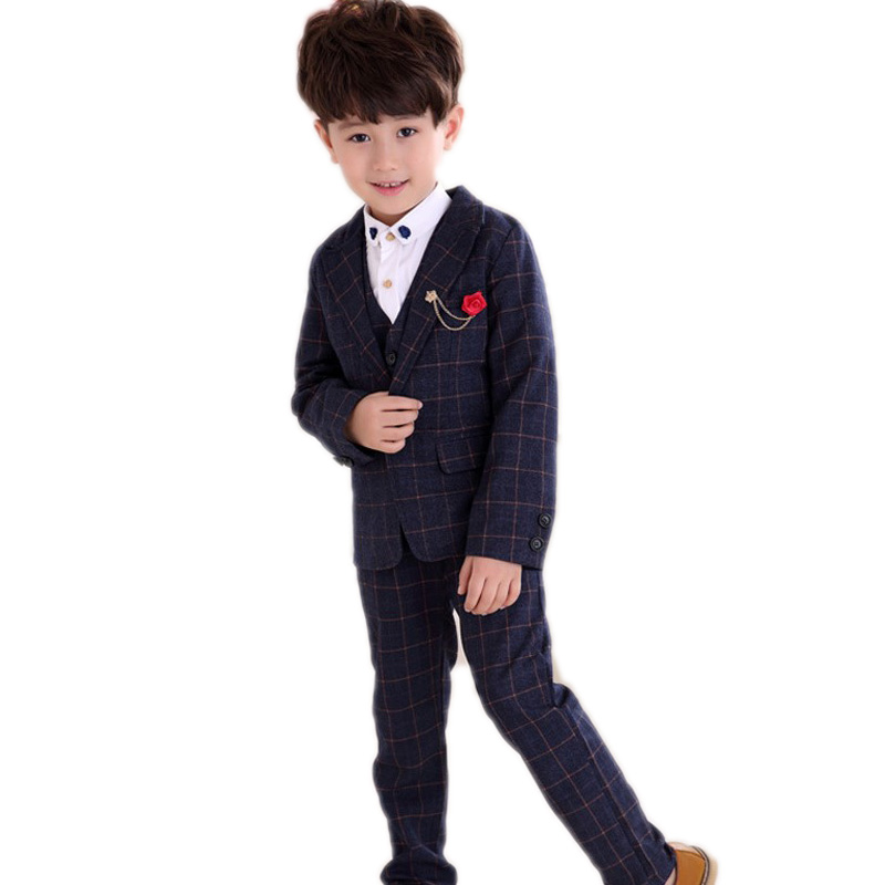 цена на boys clothing sets 2018 new spring baby boy clothes sets plaid boys wedding blazer jackets + vest +pants 3 pcs boy clothing set