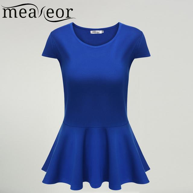 Meaneor venda quente t-shirt para mulheres de slim sólidos tops t-shirt peplum mulheres t-shirt da luva do tampão alta moda famale plissada tops