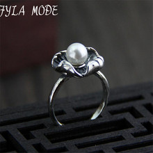 Natural Shell Pearl Ring Unique Lotus Leaf Design 925 Sterling Silver Women's Wedding Party Jewelry Hot Sale 14.20mm 4.60G