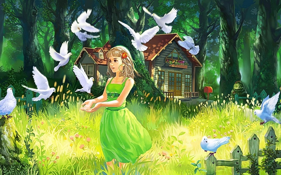 Where Can I Buy Hair Spray Paint Part - 27: Custom Canvas Fabric Wall Poster Paint Art Girl Hair Green Dress White  Doves Summer House Fence