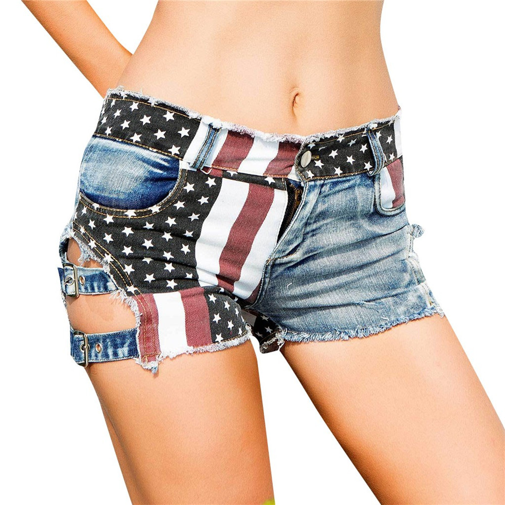 JAYCOSIN <font><b>Women</b></font> Clothes <font><b>Sexy</b></font> Elastic Jeans <font><b>Shorts</b></font> Ladies Casual Fashion High Waist American Flag Hole Ripped <font><b>Mini</b></font> <font><b>Shorts</b></font> 2019 image