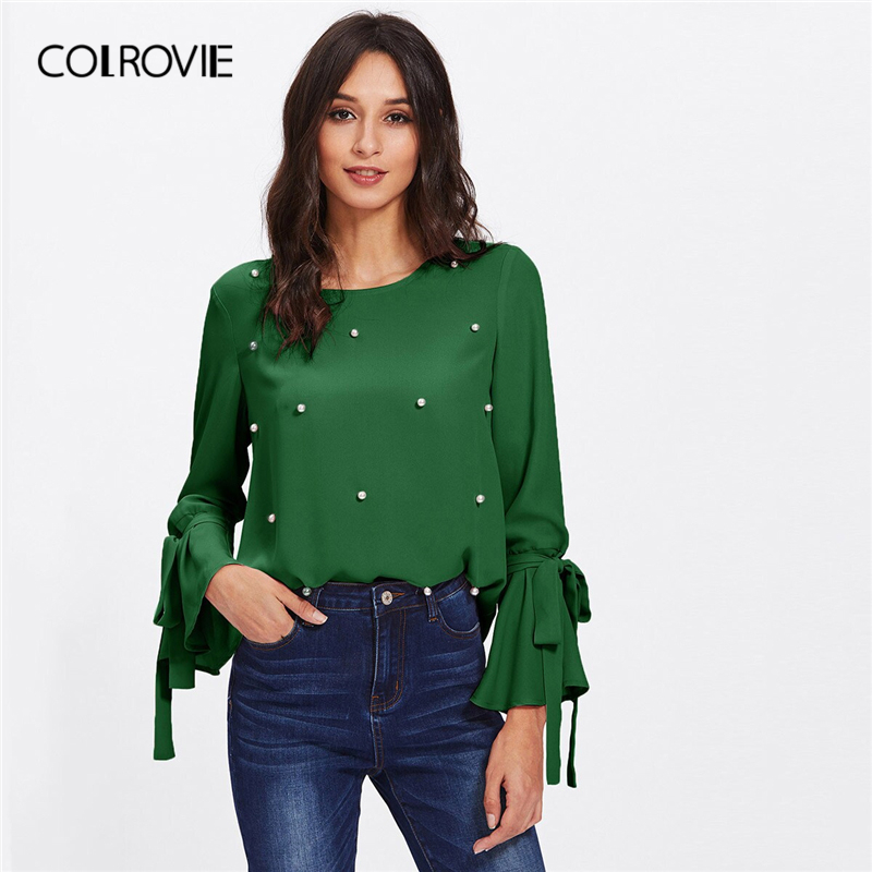 COLROVIE Green Pearl Beads Bell Long Sleeve Elegant   Blouse     Shirt   Women 2019 Spring Workwear Office Ladies Tops And   Blouses