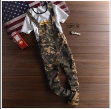 2016 summer time New Men's and girls clothes informal pant camouflage overalls Slim 7 pants suspenders Coverall bib pants
