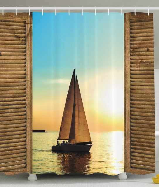 Nautical Shower Curtain Sea Life Decor Sailboat On The Ocean Scenic Sunset  View From Rustic Wooden