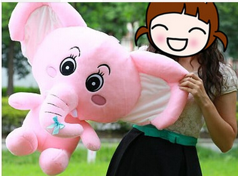 lovely plush elephant toy pink elephant doll big long nose elephant doll gift doll about 50cm the huge lovely hippo toy plush doll cartoon hippo doll gift toy about 160cm pink