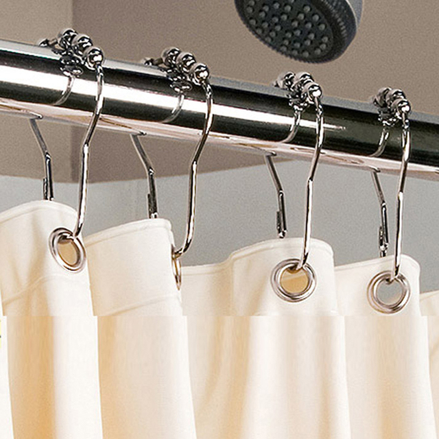 12pcs Set Polished Bath Rollerball Shower Curtain Hooks Ring Glide Rings Iron Metal