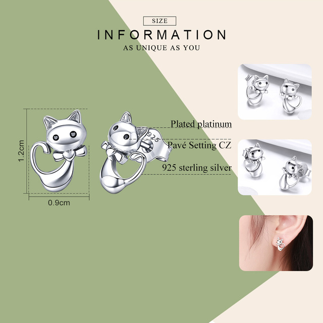 WOSTU 2019 Hot Sale 925 Sterling Silver Lovely Cute Cat Stud Earrings For Women Girl S925 Silver Brand Jewelry Gift CQE450